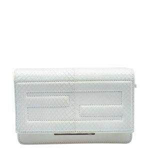 Fendi Beige Leather & Python Crossbody Bag(144107)